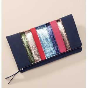 Navy metallic clutch